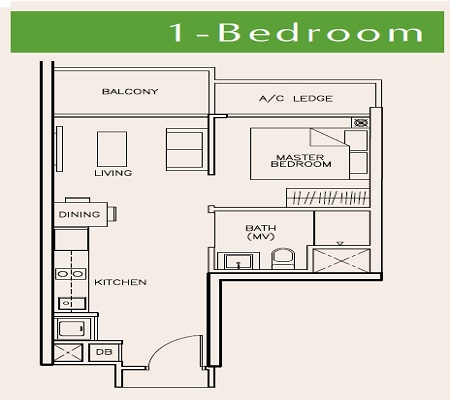 tre residences floorplan for 1 bedroom