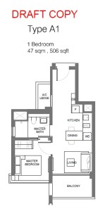 principal garden floor plan for 1 bedroom Type A1