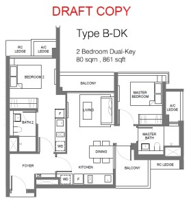 principal garden floor plan for 2 bedroom Type B Dual Key