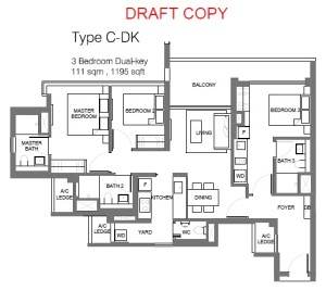 principal garden floor plan for 3 bedroom Type C Dual Key