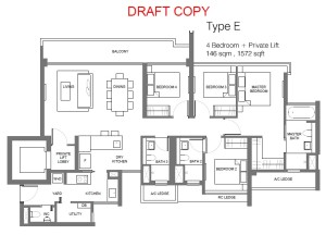principal garden floor plan for 4 bedroom with private lift Type E