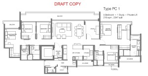 principal garden floor plan for 5 bedroom with private lift Type PC