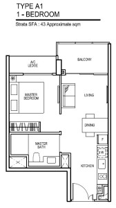 thomson impressions floor plan for 1 bedroom Type A1
