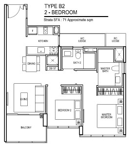 thomson impressions floor plan for 2 bedroom Type B2