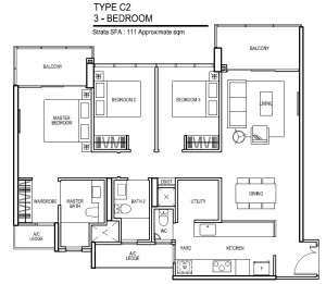 thomson impressions floor plan for 3 bedroom Type C2