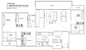 thomson impressions floor plan for 4 bedroom penthouse Type ph2