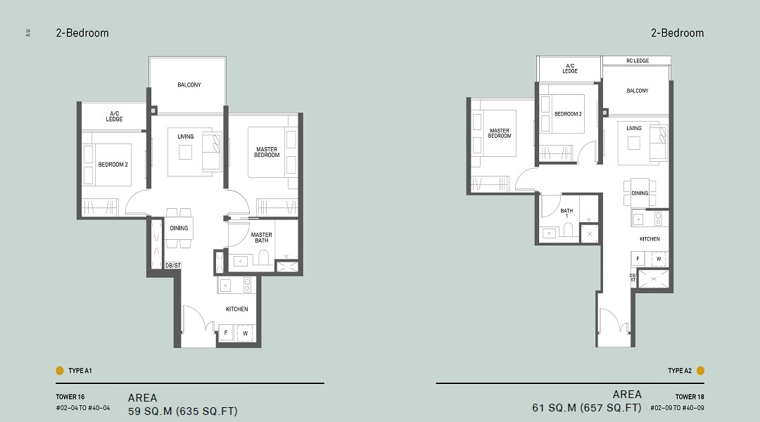 Clement Canopy two bedroom floor plan for Type A1 and A2