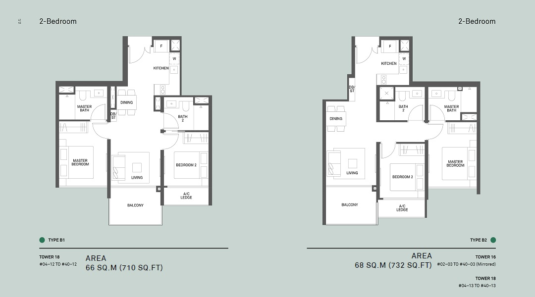 Clement Canopy two bedroom floor plan for Type B1 and B2