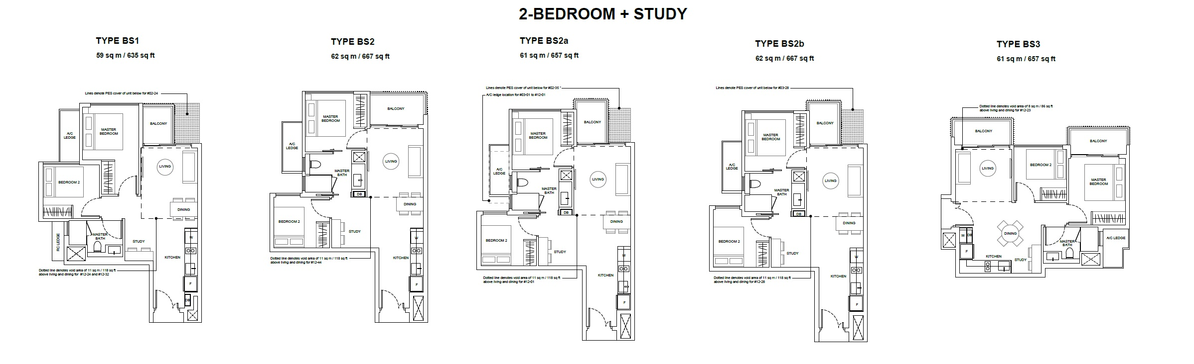 Forest Woods Floor Plan for Two Bedroom Plus Study